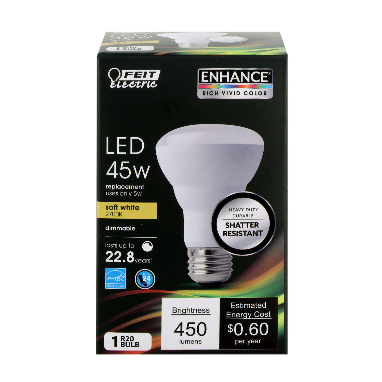 Feit Electric  R20  E26 (Medium)  LED Bulb  Soft White  45 Watt Equivalence 1 pk