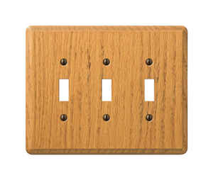 Amerelle  Contemporary  3 gang Wood  Wall Plate  Toggle  1 pk