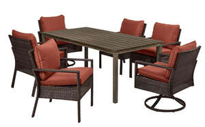 Living Accents  7 pc. Aspen  Rust  Dining Set