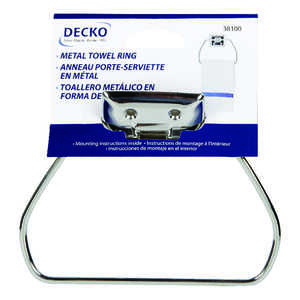 Decko  Chrome  Stirrup Towel Ring  Metal