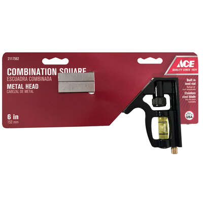 Ace  6 in. L x 3-1/2 in. H Stainless Steel  Combination Square  Black
