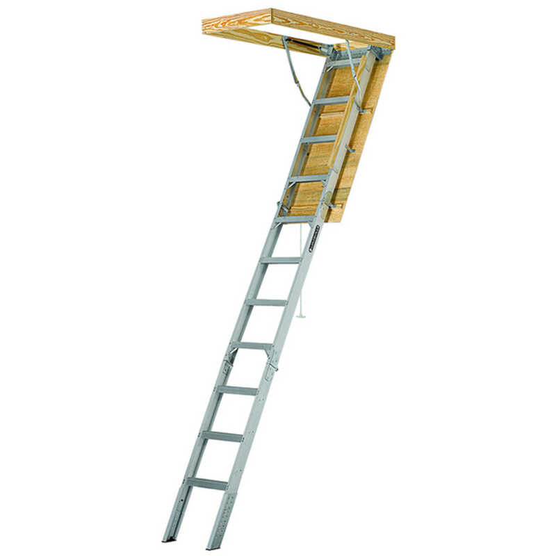 Louisville  10.3 ft. H x 25.5 in. W Aluminum  Attic Ladder  Type IAA  375 lb.