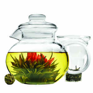 Primula  Blossom  Clear  Glass  40 ounce  Teapot