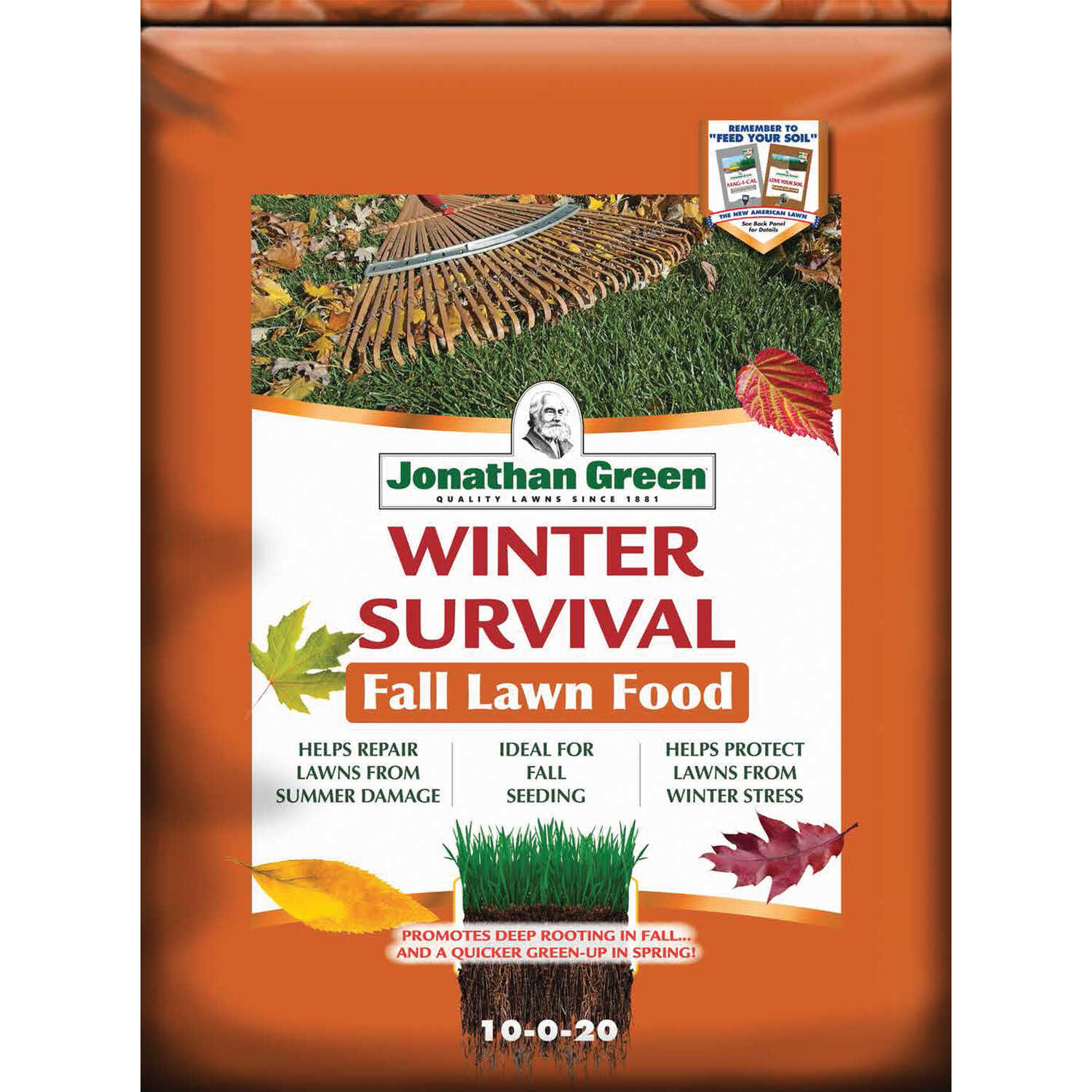 Jonathan Green  Winter Survival  10-0-20  Winterizer Lawn Fertilizer  For All Grass Types 45 lb. 150