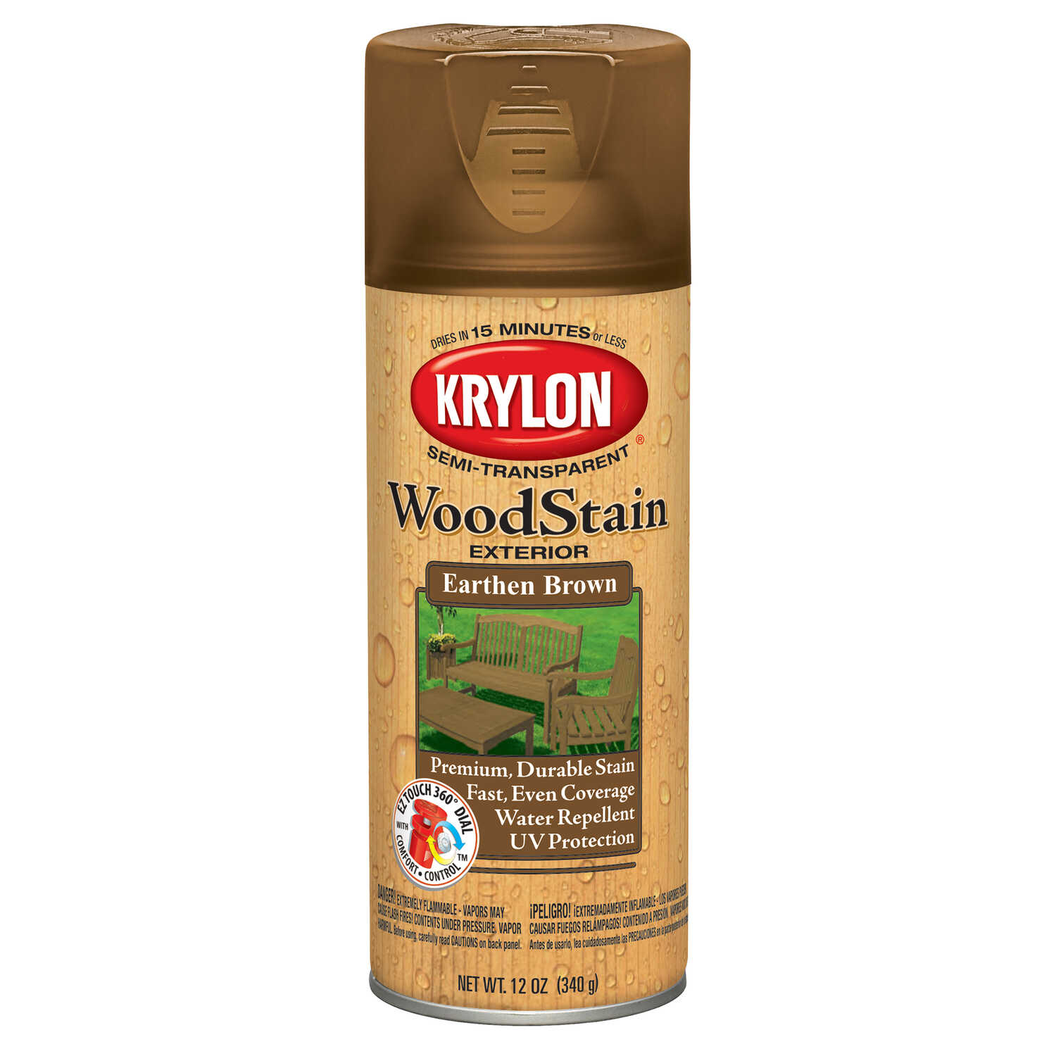 Krylon  Semi-Transparent  Semi-Gloss  Earthen Brown  Oil-Based  Oil  Wood Stain  12 oz.