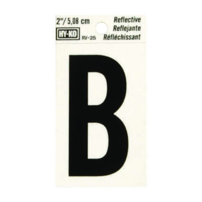 Hy-Ko 2 in. Reflective Black Vinyl Self-Adhesive Letter B 1 pc.