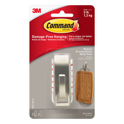 Command 3-1/8 in. L Brushed Nickel Metal Medium Hook 3 lb. capacity 1 pk