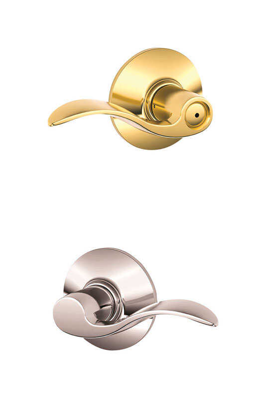 Schlage  Traditional  Bright Brass/Bright Chrome  Brass  Bed and Bath Lever  2 Grade Right or Left H