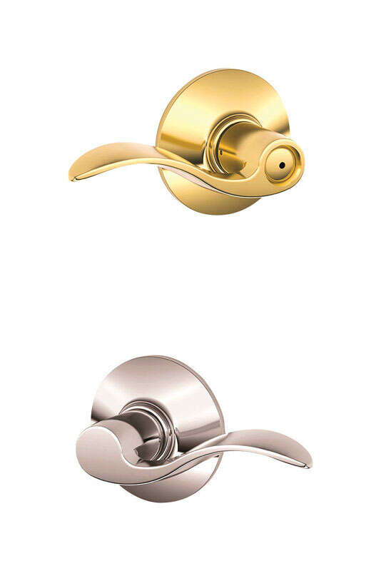 Schlage  Traditional  Bright Brass/Bright Chrome  Brass  Bed and Bath Lever  2  Right or Left Handed