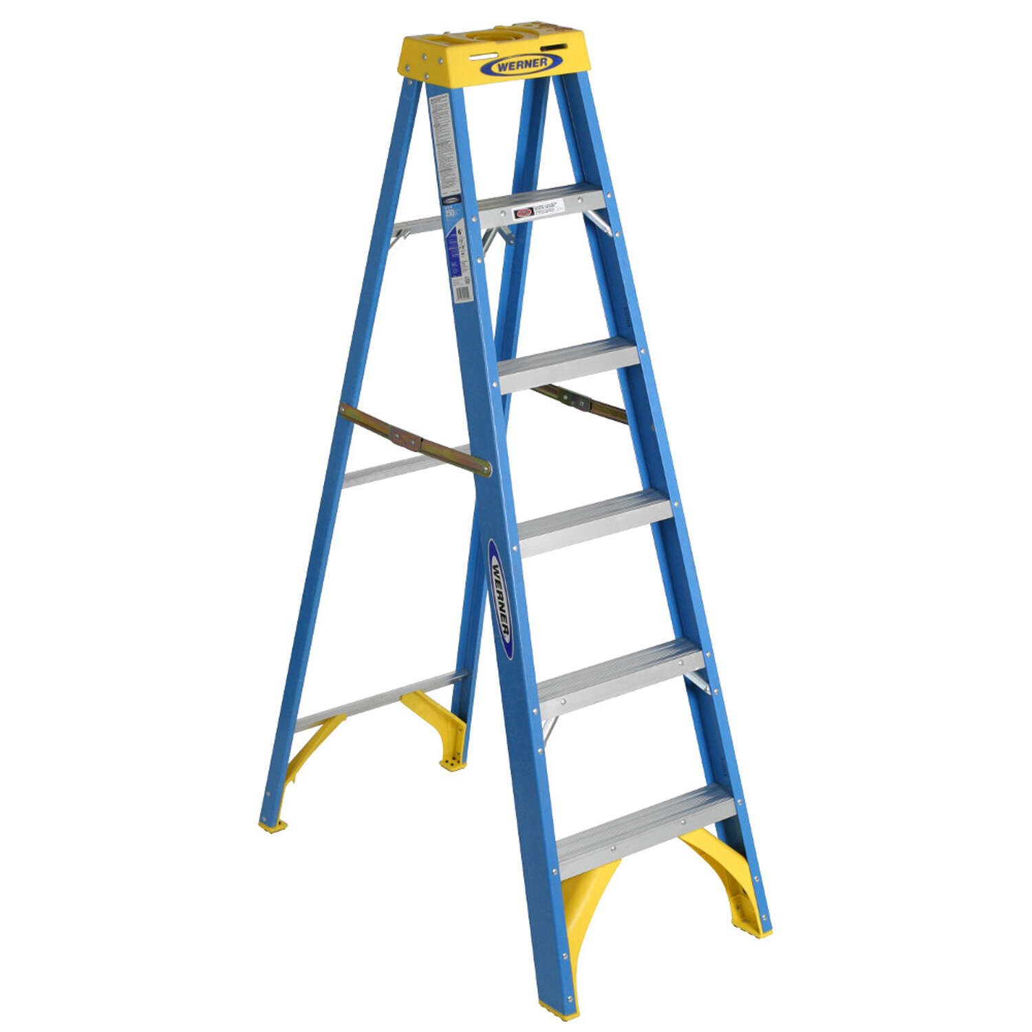 Werner  6 ft. H x 22 in. W Fiberglass  Step Ladder  Type I  250 lb. capacity