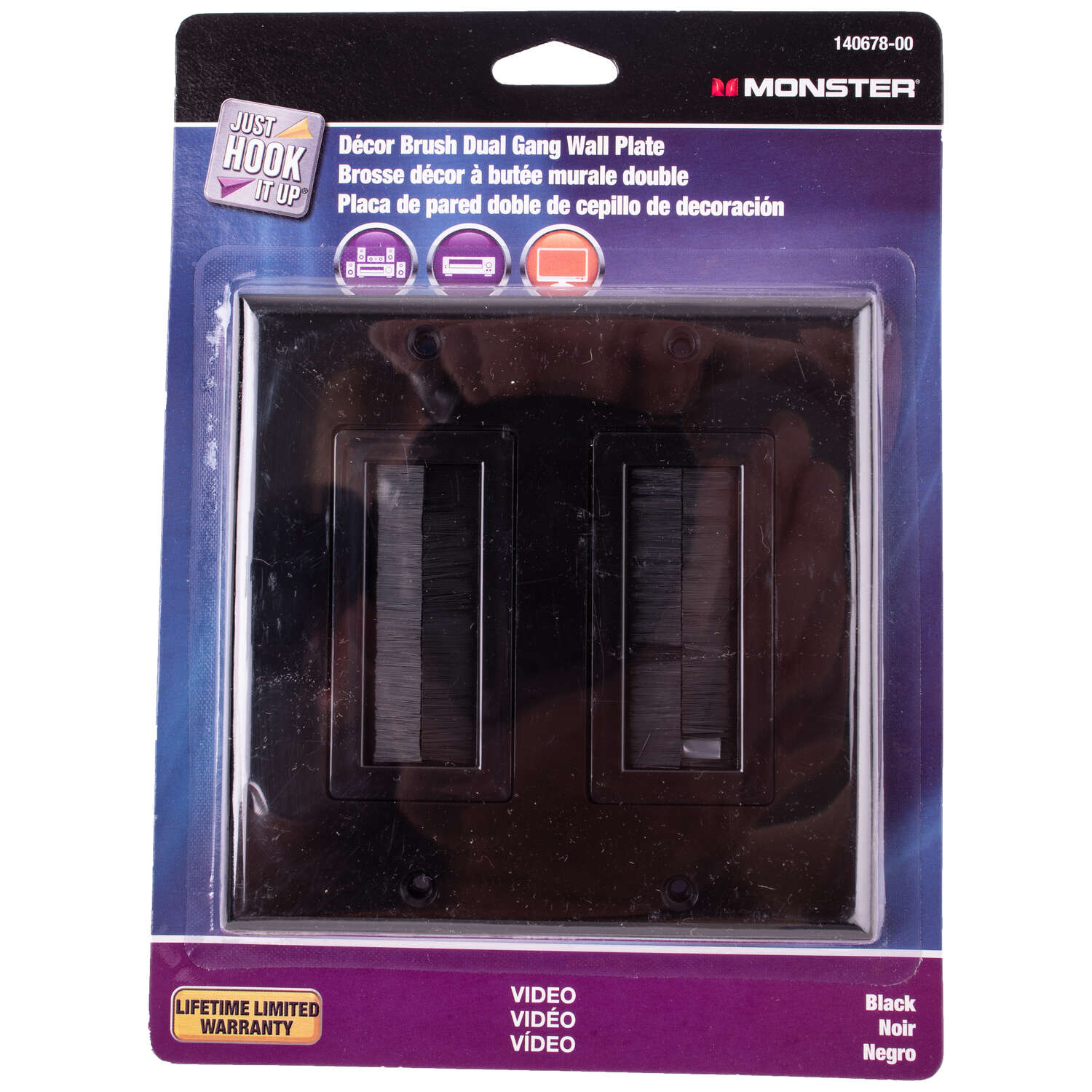 Monster Cable  Just Hook It Up  Black  2 gang Plastic  Home Theater  Brush Wall Plate  1 each