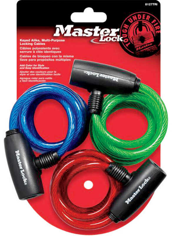 Master Lock  6 ft. L x 5/16 in. W Vinyl Covered Steel  Bike Lock  Key  Keyed Alike 3 pk