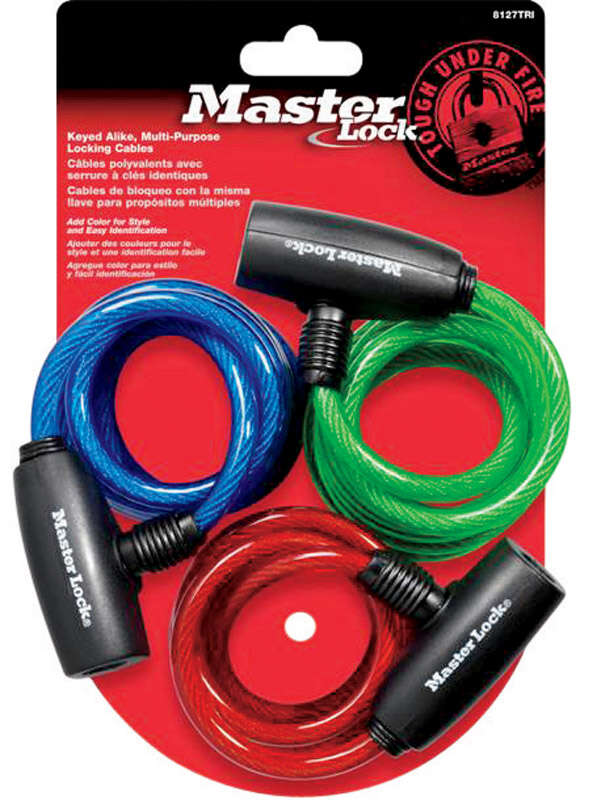 Master Lock  5/16 in. W x 6 ft. L Vinyl Covered Steel  Key  Bike Lock  3 pk Keyed Alike