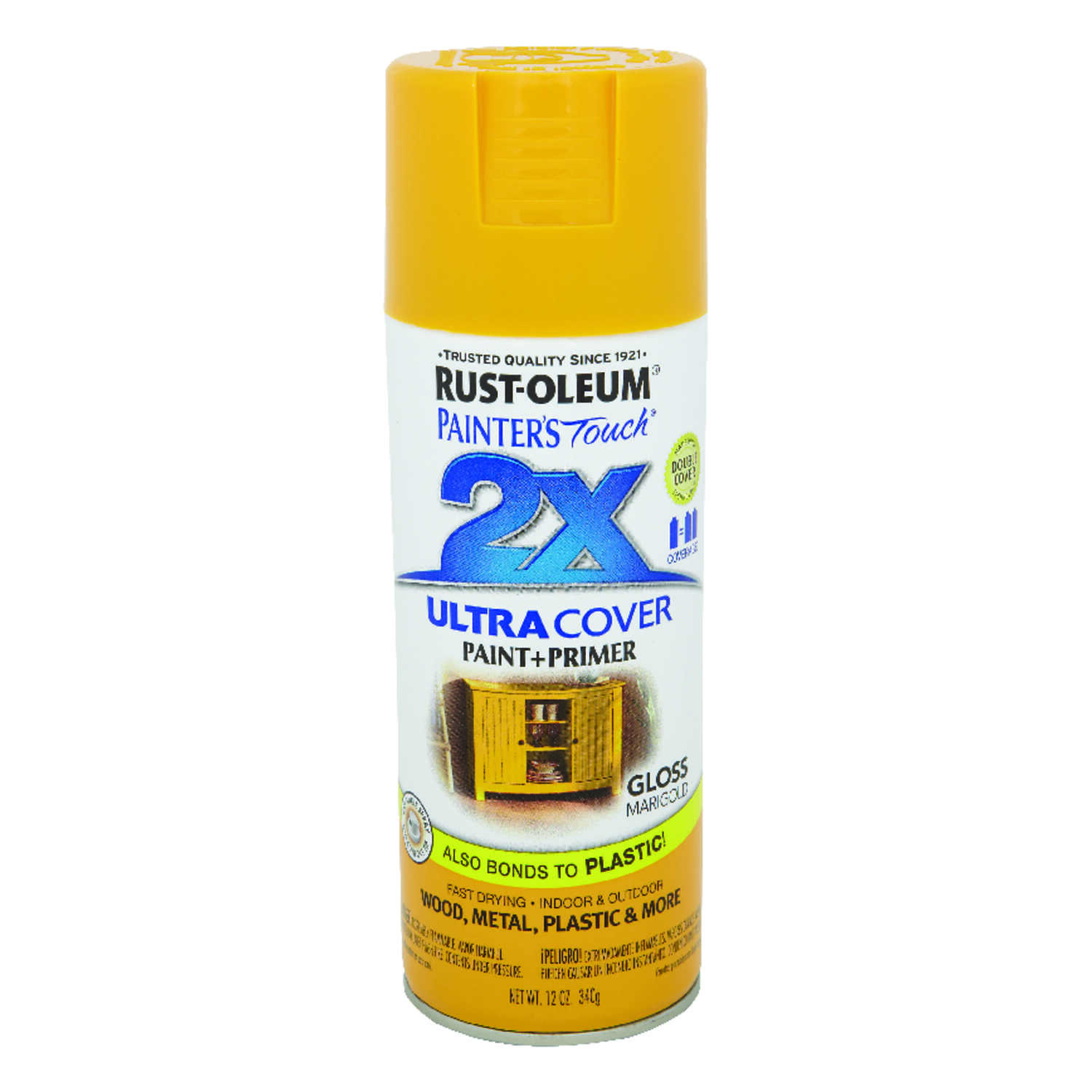 Rust-Oleum  Painter's Touch Ultra Cover  Gloss  Spray Paint  12 oz. Marigold