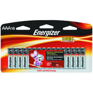 Energizer  MAX  AAA  Alkaline  Batteries  1.5 volts Carded  16 pk