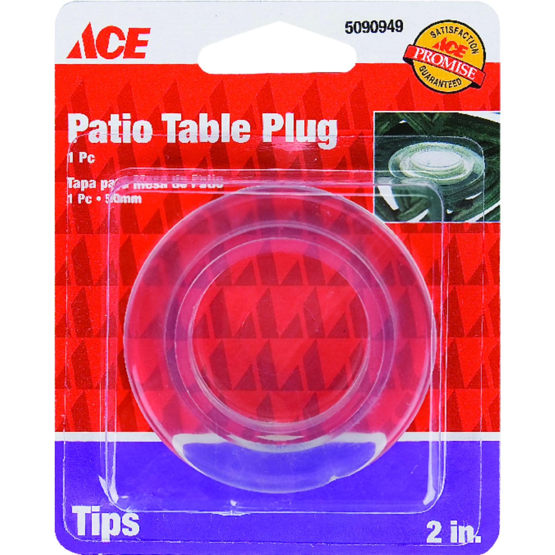 ace plastic plastic umbrella hole plug clear round 2 in w ace rh acehardware com patio table plug uk patio table plug umbrella hole