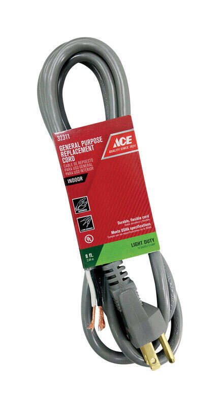Ace  16/3 SJTW  8 ft. L Power Supply Replacement Cord