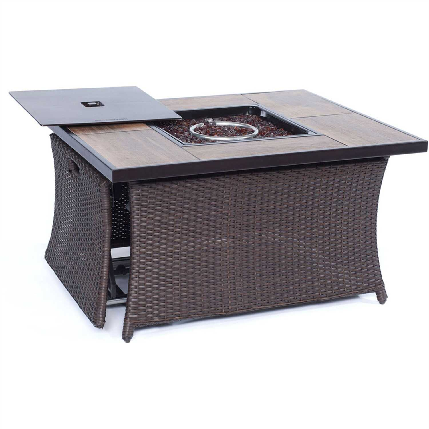 Hanover  Coffee Table  LP Gas  Metal  23.5 in. H x 35.8 in. W x 43.8 in. D Outdoor Fireplace