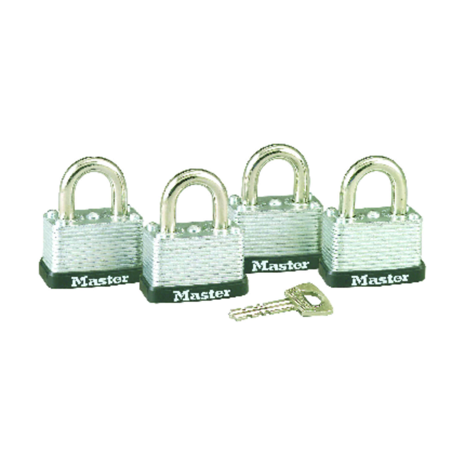 Master Lock  15/16 in. H x 13/16 in. W x 1-1/2 in. L Laminated Steel  Warded Locking  Padlock  4 pk