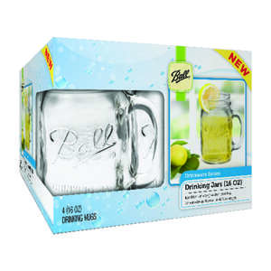 Ball Drinking Mugs Glass 16 oz.  Dishwasher Safe  Box of 4