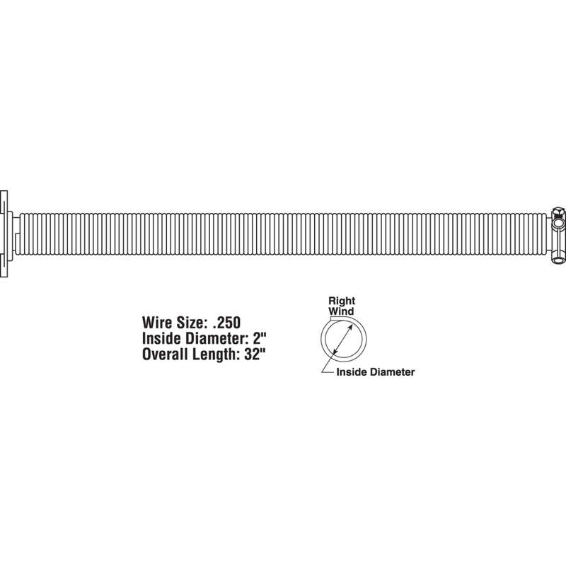 Prime-Line  32 in. L Garage Door Torsion Spring  150