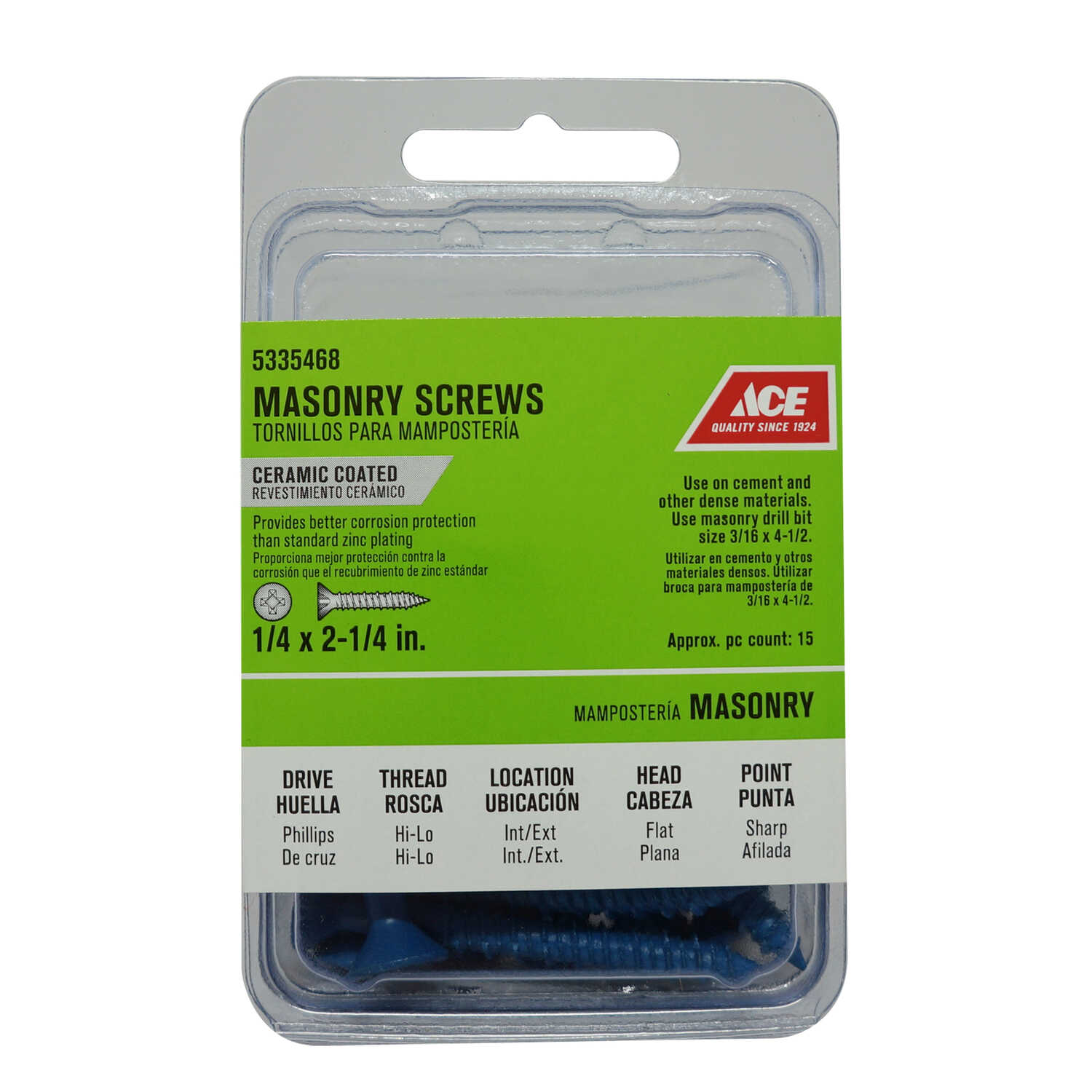 Ace  1/4 in.   x 2-1/4 in. L Phillips  Flat Head Ceramic  Steel  Masonry Screws  15 pk