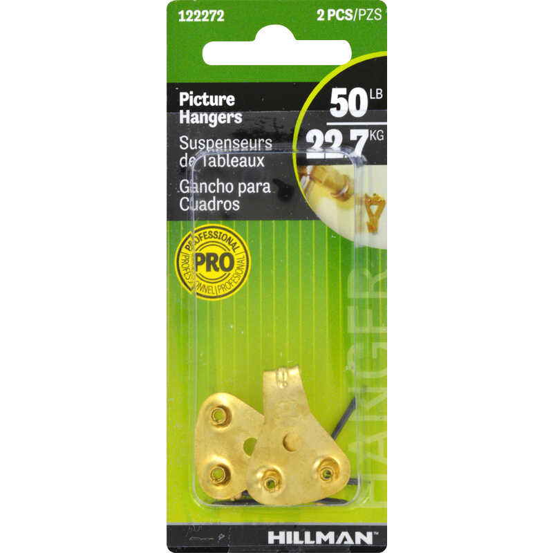 HILLMAN  AnchorWire  Brass-Plated  Steel  Picture Hanger  50 lb. 2 pk Classic