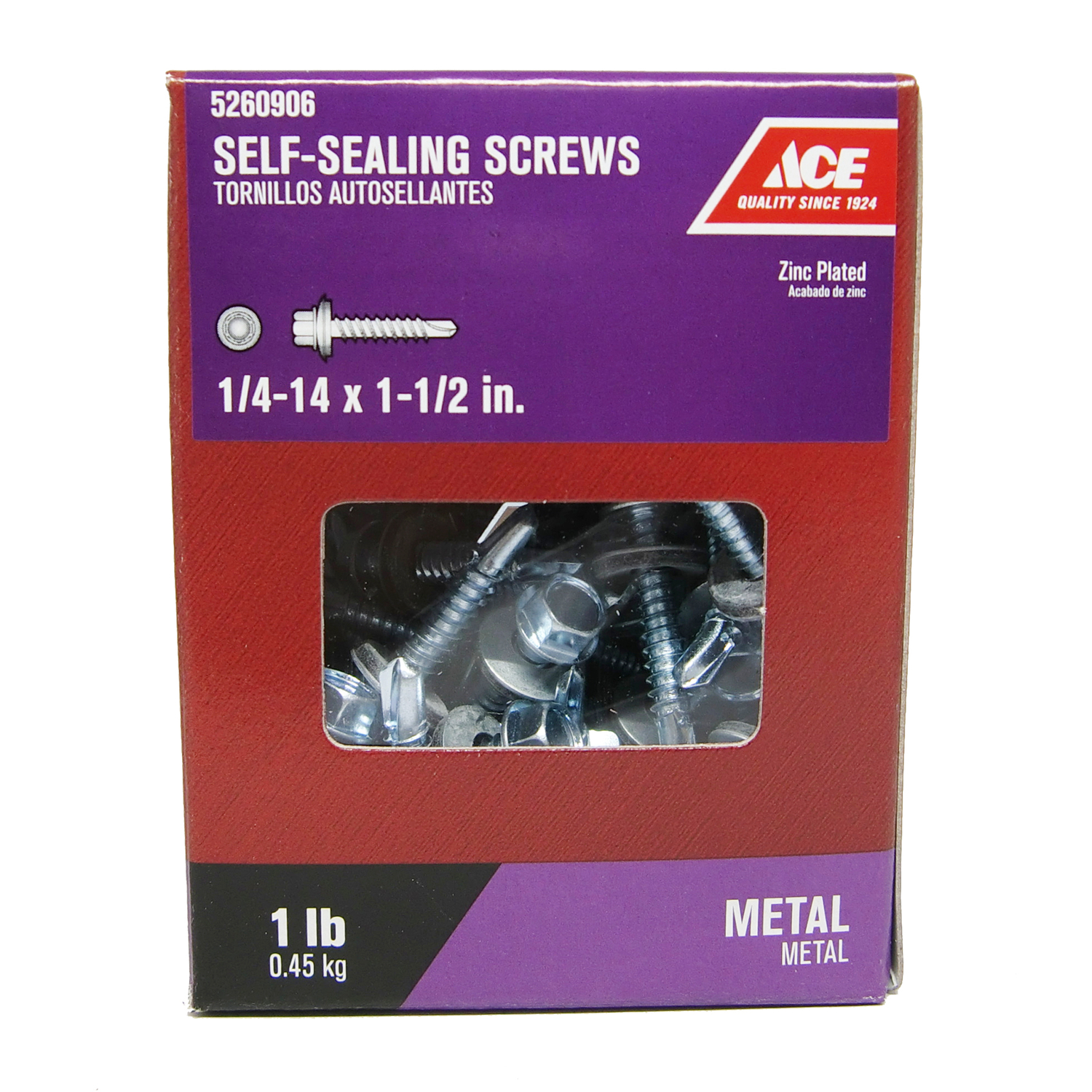Ace  1/4-14 Sizes  x 1-1/2 in. L Hex  Hex Washer Head Steel  Self-Sealing Screws  Zinc-Plated  1 lb.