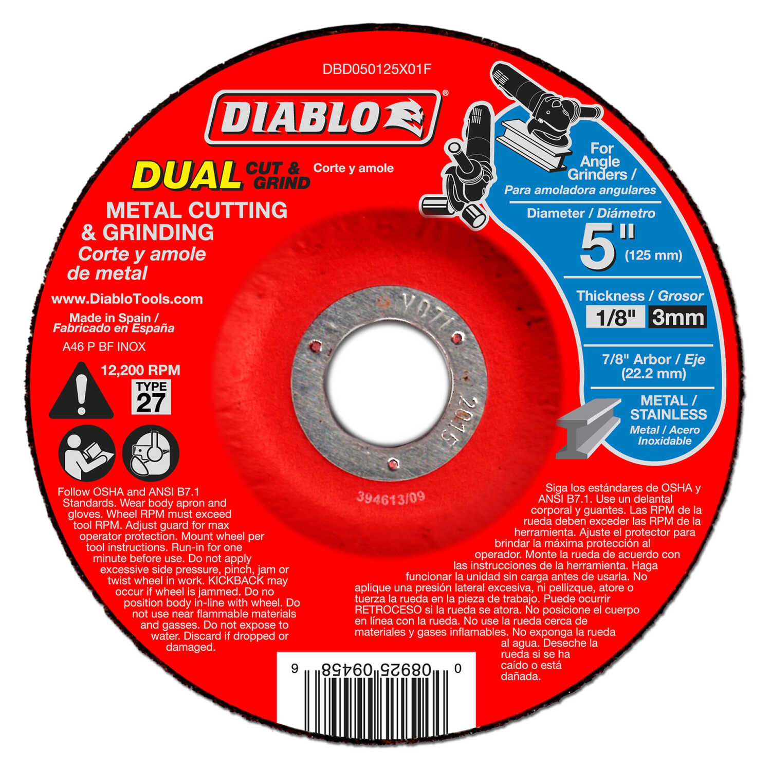 Diablo  5 in. Aluminum Oxide  Cutting/Grinding Wheel  1/8 in.  x 7/8 in.   1 pc.