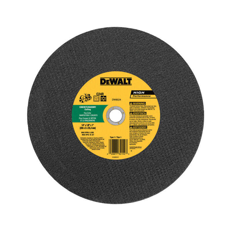 DeWalt  14 in. Dia. x 1 in. in.  Silicon Carbide  Cut-Off Wheel  1 pc.