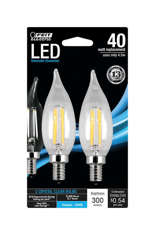 FEIT Electric  C10  E12 (Candelabra)  LED Bulb  Daylight  40 Watt Equivalence 2 pk