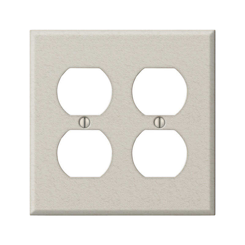 Amerelle  Contractor  2 gang Stamped Steel  Duplex Outlet  Wall Plate  1 pk