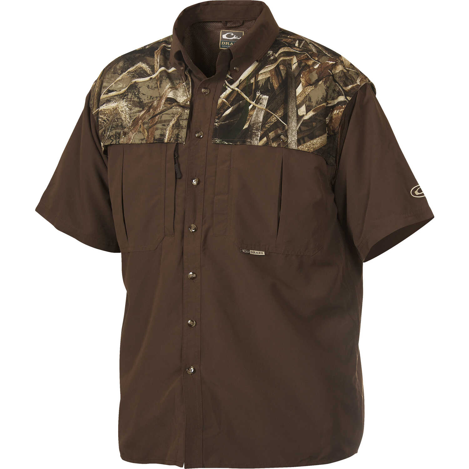 Drake  EST Wingshooter  XL  Short Sleeve  Men's  Collared  Brown/Camo  Work Shirt