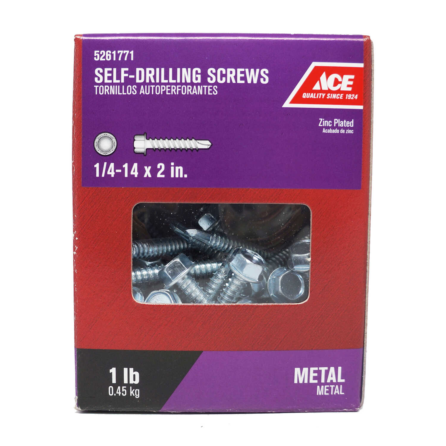 Ace  1/4-14 Sizes  x 2 in. L Hex Washer Head Steel  Self- Drilling Screws  1 lb. Hex  Zinc-Plated