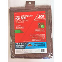 Ace  10 ft. W x 12 ft. L Medium Duty  Polyethylene  Tarp  Brown/Green