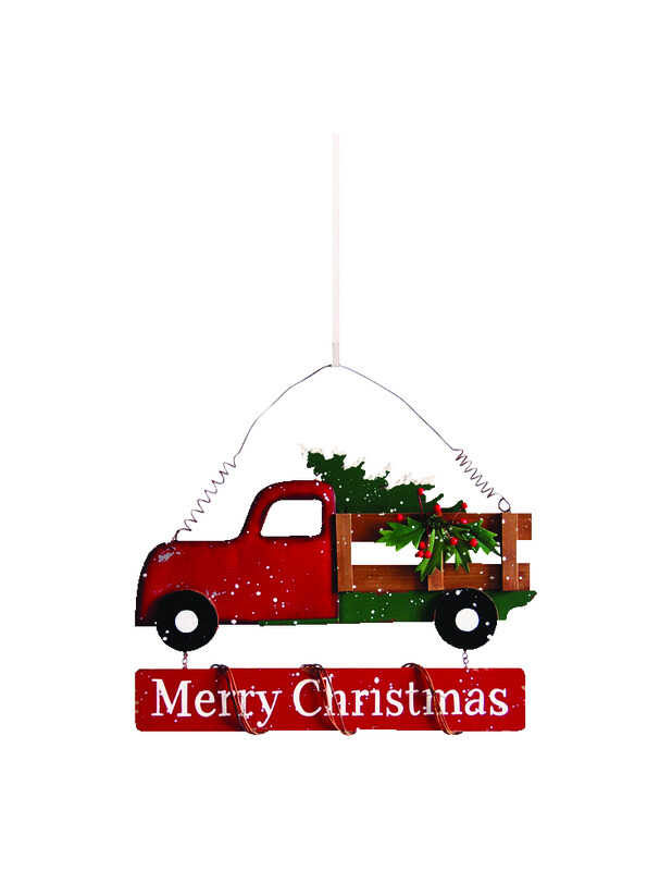 Celebrations  Merry Christmas Truck  Wall Art  Red  1 pk Iron