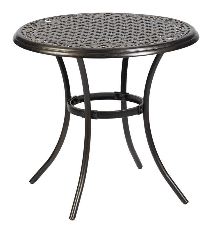 Living Accents  Round  Bistro Table  Brown  Aluminum  Powder Coated