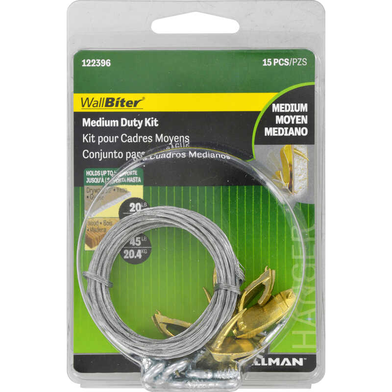 Hillman  WallBiter  Brass-Plated  Brass  Medium Duty  Picture Hook Kit  1 pk 45 lb.