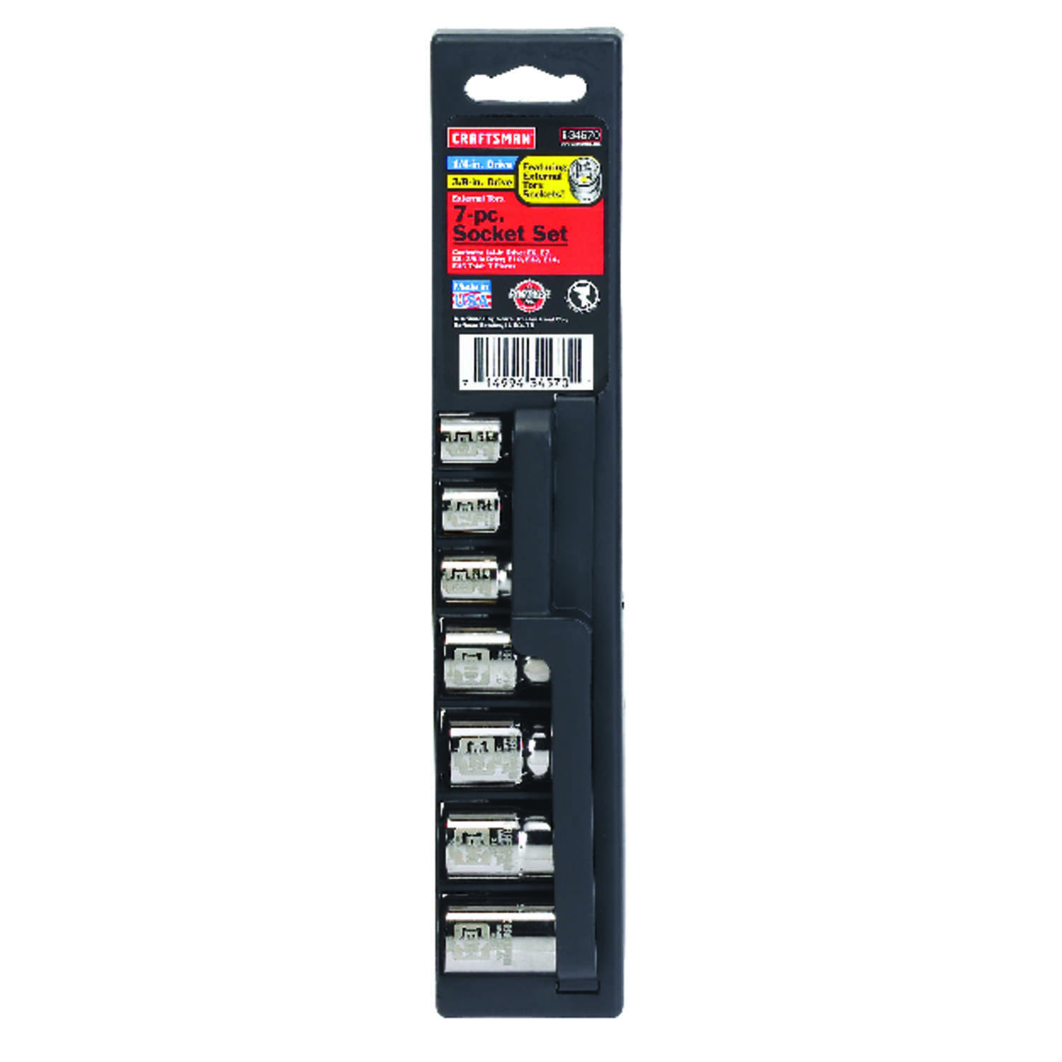 Craftsman  Assorted in.  x 1/4 and 3/8 in. drive  Metric  6 Point External Torx Socket Set  7 pc.