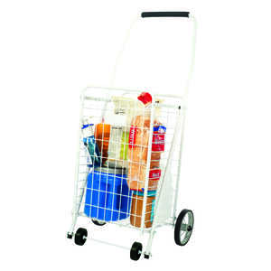 Apex  37 in. H x 10-1/2 in. L x 12-1/2 in. W White  Collapsible Shopping Cart
