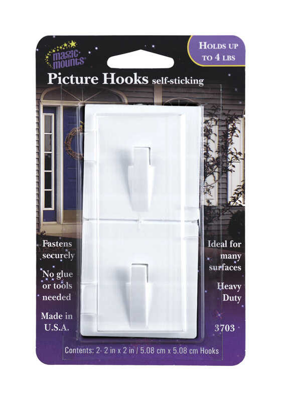 Magic Mounts  Self Stick  Metal  Adhesive  4 lb. 2 pk Picture Hooks
