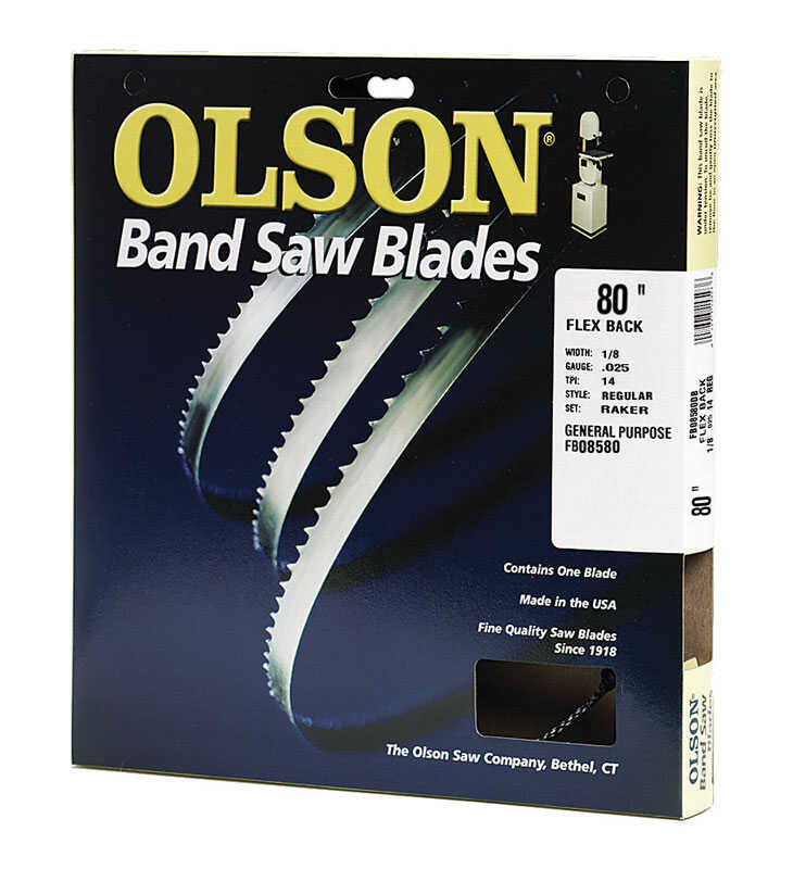Olson  80 in. L x 1/8 in. W x 0.025 in. thick  Carbon Steel  Band Saw Blade  14 TPI Regular teeth 1