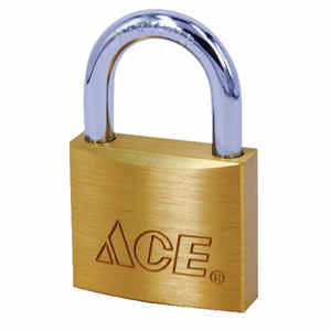 Ace  1 in. H x 1 in. W x 7/16 in. L Brass  Single Locking  Padlock