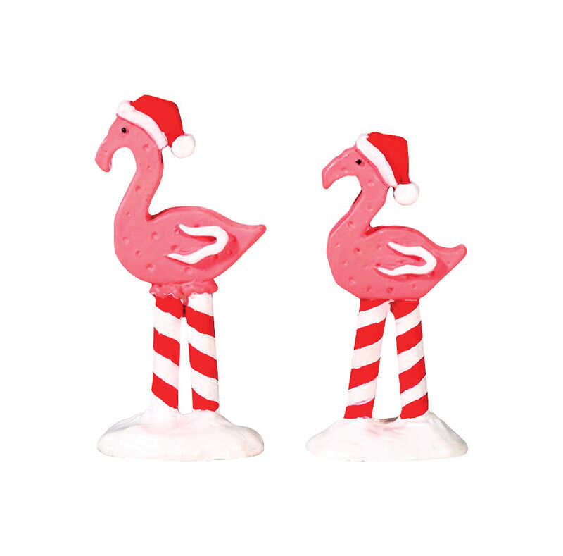 Lemax  Christmas Flamingos  Porcelain Village Accessory  Multicolor  Resin  2 pk