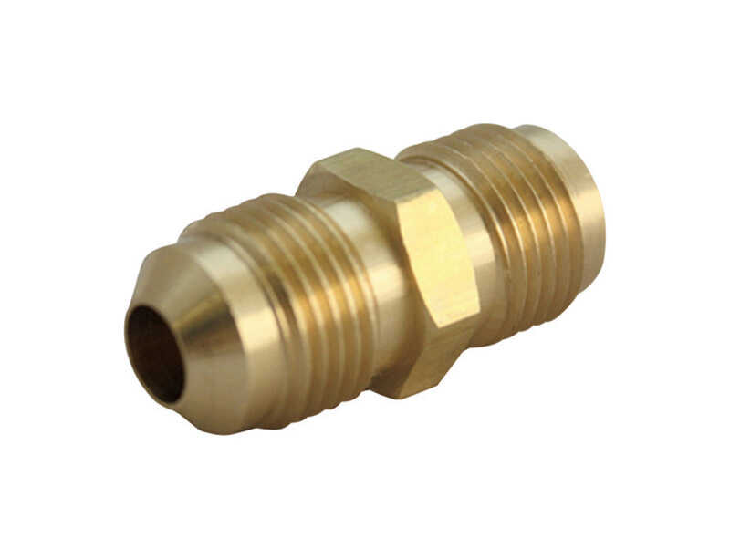 Ace  1/2 in. Dia. x 3/8 in. Dia. Flare To Flare To Flared  Yellow Brass  Union