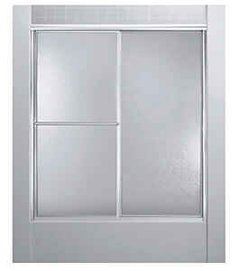 Sterling  Deluxe  70 in. H x 59.375 in. W Silver  Silver  Framed  Shower Door