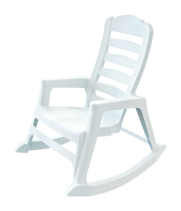 Adams  White  Polypropylene  Adirondack Rocking Chair  Stackable