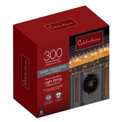 Celebrations Incandescent Clear/Warm White 300 count String Christmas Lights 17 ft.