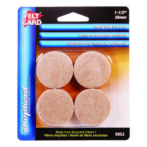 Felt Gard  Recycled Fiber  Self Adhesive Pad  Tan  1-1/2 in. W 8 pk Self Adhesive Round