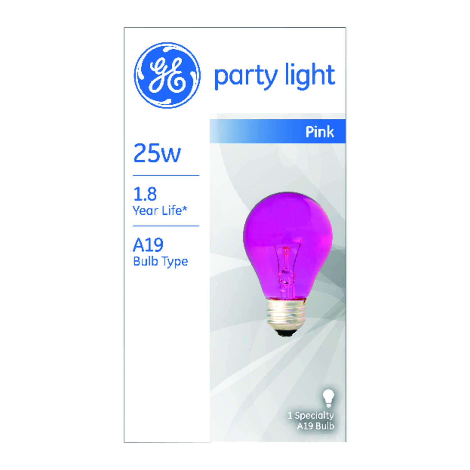 GE  25 watts A19  Incandescent Bulb  Pink  A-Line  1 pk